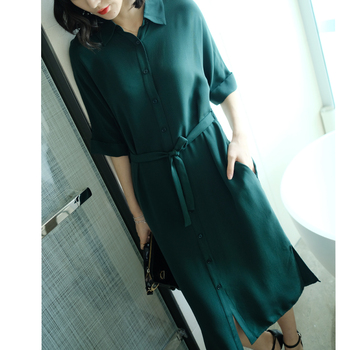 The new design silk dress design summer female side slit lace shirt dress