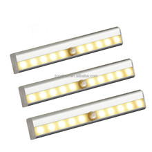 3 Pack 10 LED Battery Operated Wireless Portable Aluminum Aisle/Cabinet Sensor Light with Magnetic Strip Stick to Anywhere