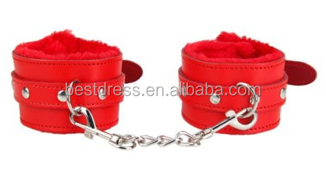Sexy Slave Hand Ring Handcuff Restraint Chain SM Sex Flirt Toy Tools RED