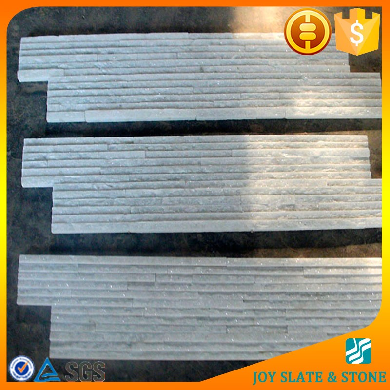 Made in china quartz ledge stone white/waterfall tile