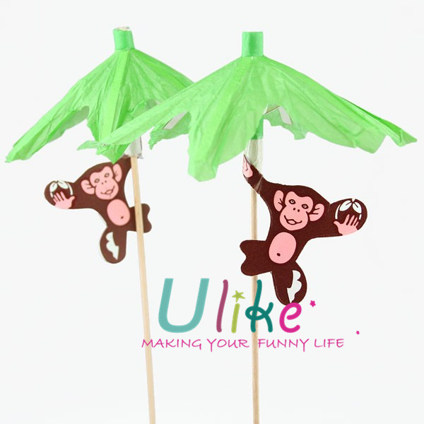 Monkey Palm Tree Parasol Cocktail Picks decorations birthday party supplies