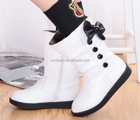 Cheap winter ankle height white black and red princess snow boots