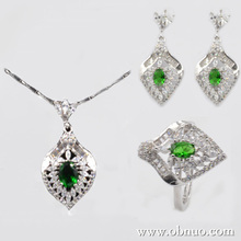 CS147 love costume jewelry set, emerald heart jewelry set, white gold plated zircon emerald necklace earrings party ring
