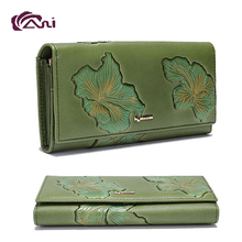 Custom Design Long Style Leather Travel Wallet Human Genuine Leather Money Bag Leather Wallets