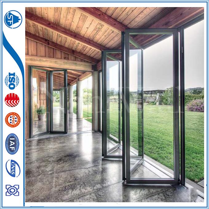 Aluminum exterior glass accordion folding door from china for Exterior folding glass doors