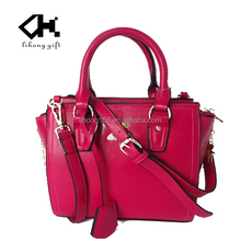 Comely pink famous brand leather bags for ladies