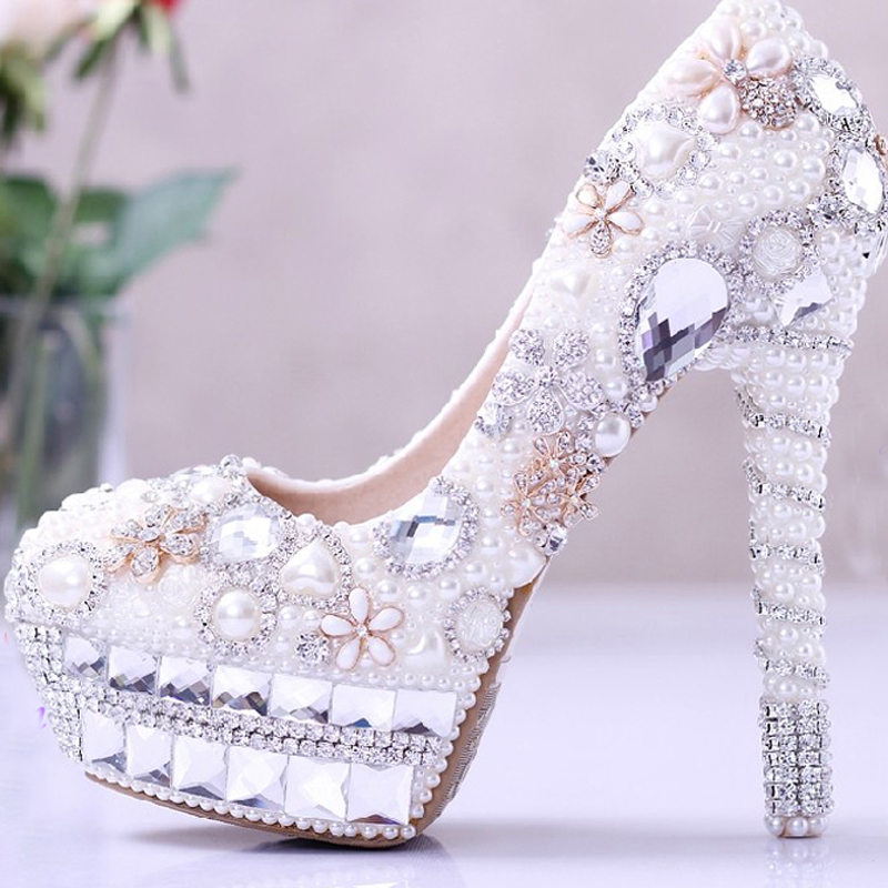 Wedding Dress <strong>Shoes</strong> Rhinestone Bridal <strong>Shoes</strong> high heel Platform Pumps White Lady Woman Party Prom <strong>Shoes</strong>