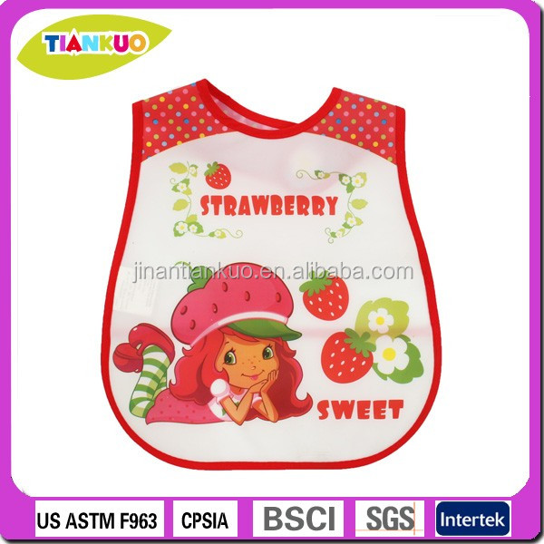 Promotion cheap waterproof PEVA plastic baby bibs