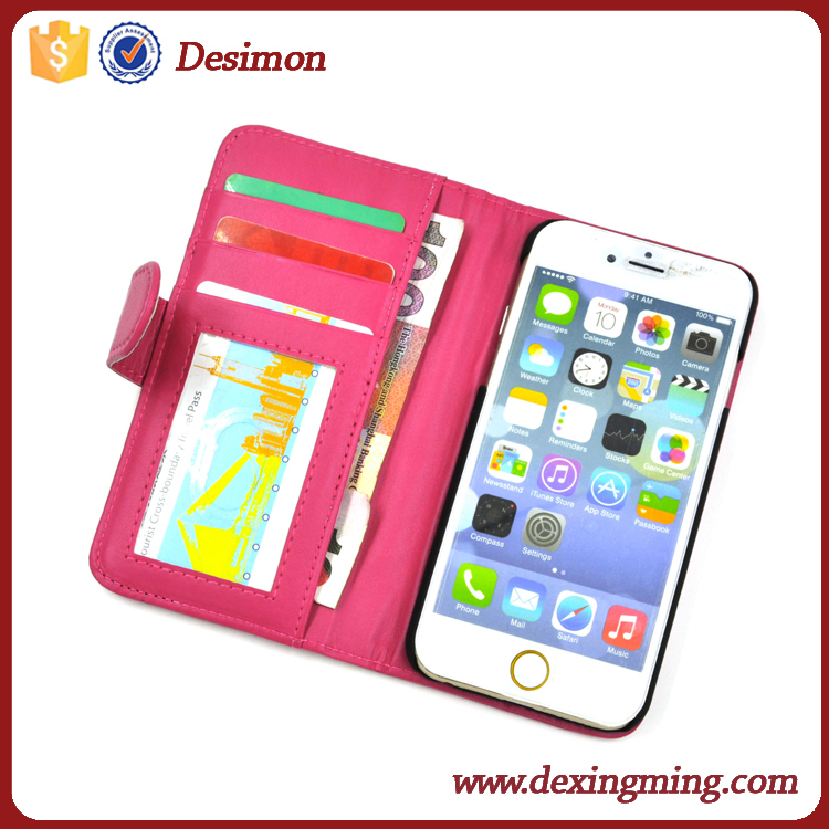 2017 shenzhen hot new flip pu case for iphone 6 leather case cover id card