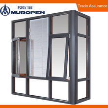 Heatproof and weatherproof double security tempered glass window AS2208 CSA NFRC black aluminium chain winder awning window