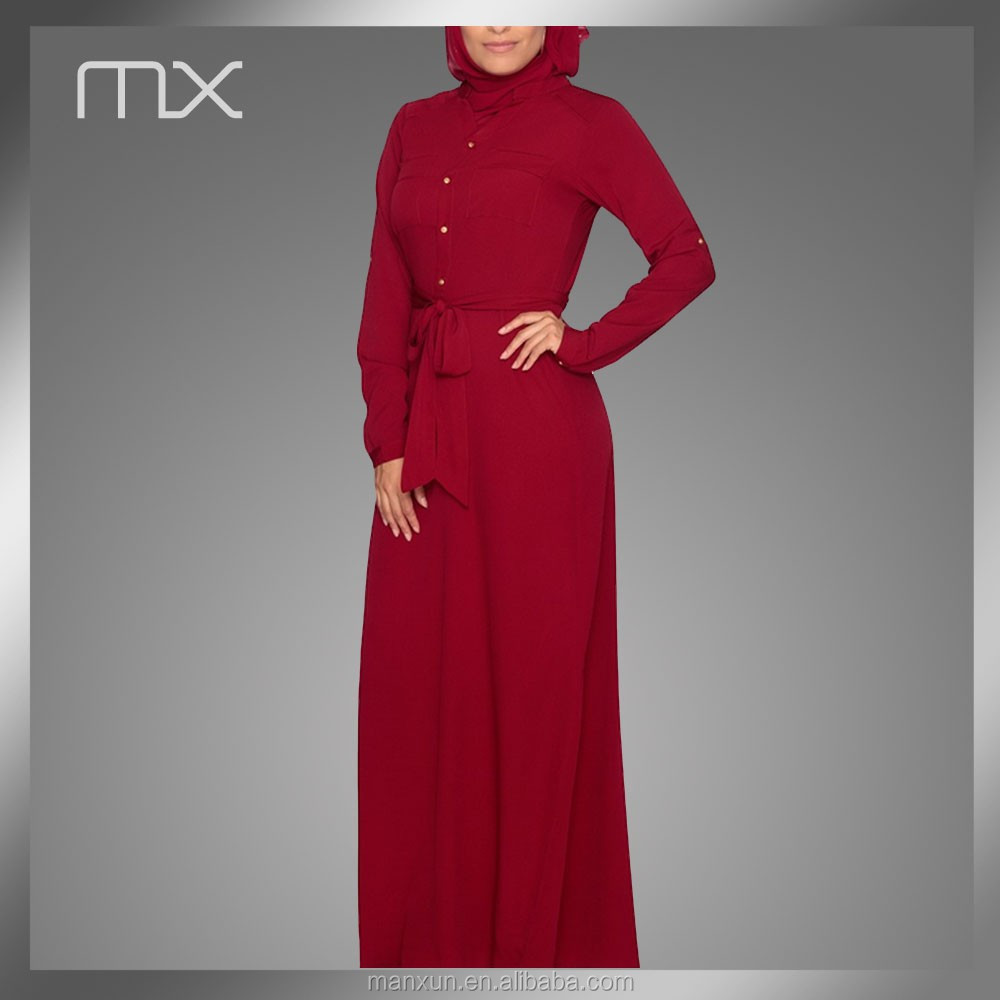 Dubai Abaya New Design Long Women Red Sexy Dress Removable Waist Belt Caftan