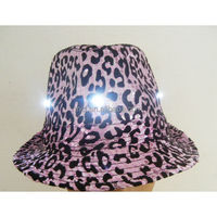 Party wholesale purple led flashing leopard print fedora hat
