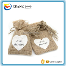 Promotion Vintage Just Married Natural Hemp Small Jute Bag Drawstring Hessian Burlap Gift Bags Wedding Decoration Party Supplies