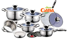 2014 new product/ Stainless steel 16pcs cookware set with frying pan ceramic coating / induction pots and pans