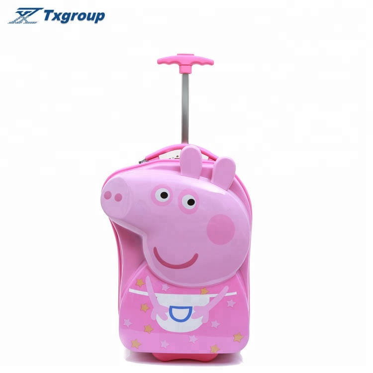 2018 High quality <strong>ABS</strong> children luggage 3D Page pig trolley travel bag kids cartoon luggage