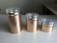 Plastic Round canister set airtight mason jar with GOLD PAPER