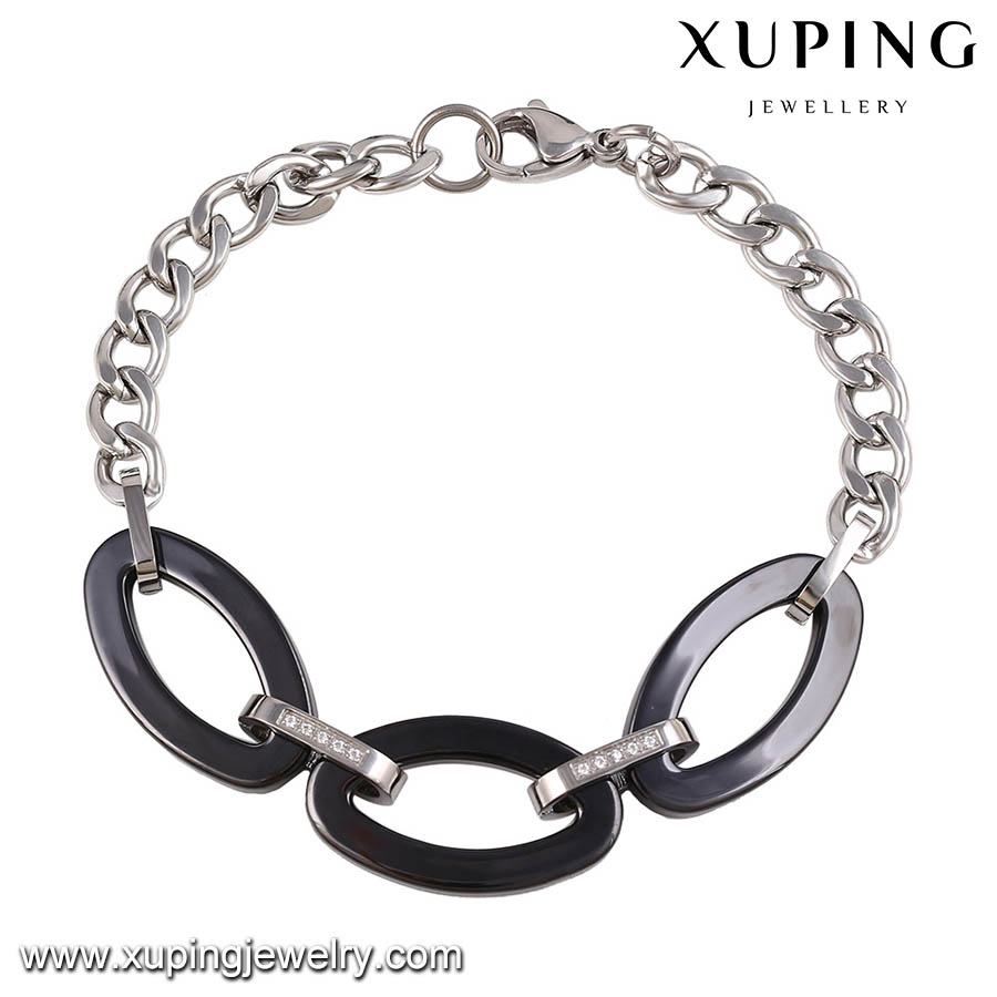 74456 XUPING chain bracelet latest design withe and black color plated Stainless Steel material,Combined steel bracelet
