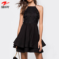 2018 Hot Selling Sexy Backless Black Lace Cocktail Dress Summer Mini Dress