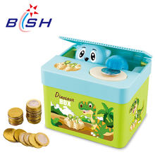 New arrival dinosaurs animal stealing kids plastic money saving coin bank with top quality