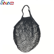 Reusable Black Cotton Market Net Mesh Fruit Tote Bag