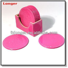 Hot-selling classic design embossed pink leather cup coaster for hotel