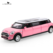 christmas gift lagopus Mini Lengthened Zinc Alloy Mini Model Car Toys Door Can Open Pull Back Sound&light Toy
