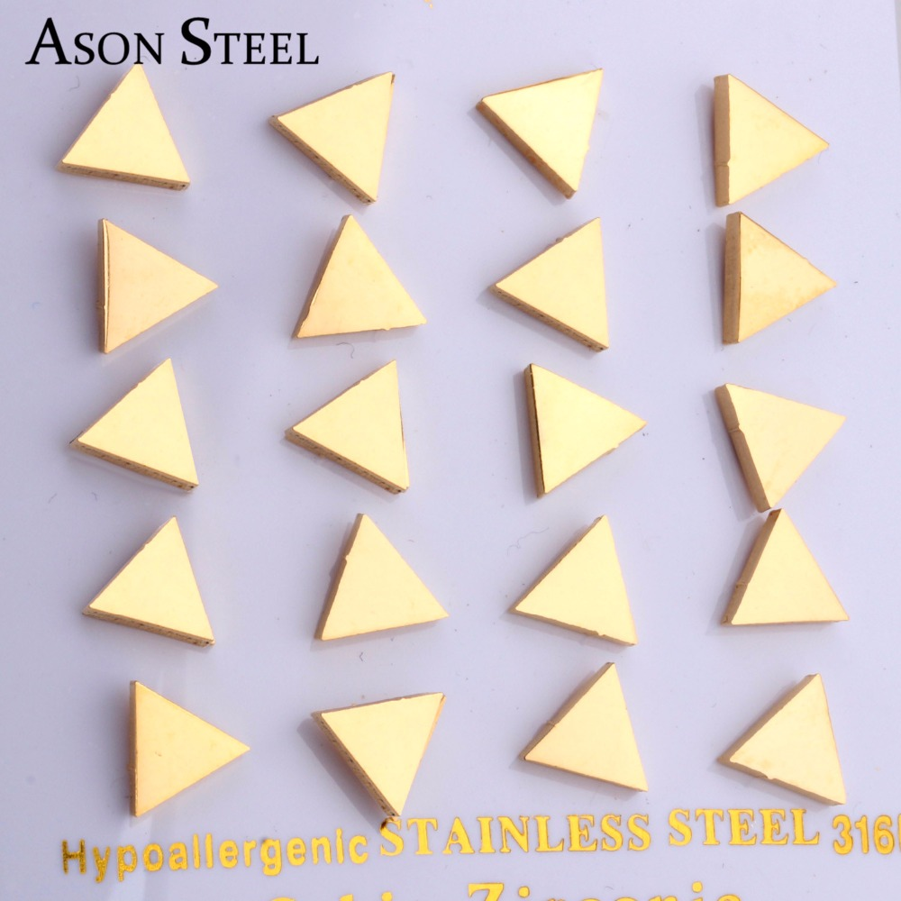 Unique Design Triangle Stud Earrings ,High quality Stainless steel 18k Gold Plated,2014 Hot Selling to USA,Free Shipping