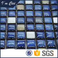 Polished porcelain blue and white swimming pool mosaic tiles
