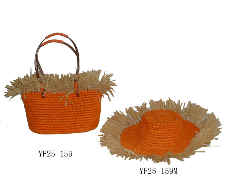 fashion straw bag and straw hat sets