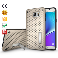 Net Mesh Stand Shockproof bumper TPU+PC Mobile silicone covers for samsung galaxy note 5 case