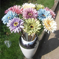 2016 cheap wholesale artificial flowers single fake chrysanthemum with oil painting style for home decoration daisy sunflower
