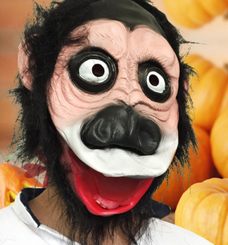 YIWU Caddy QW24 Halloween funny gorilla mask smiling face Latex caps black monster dress up sets of wig