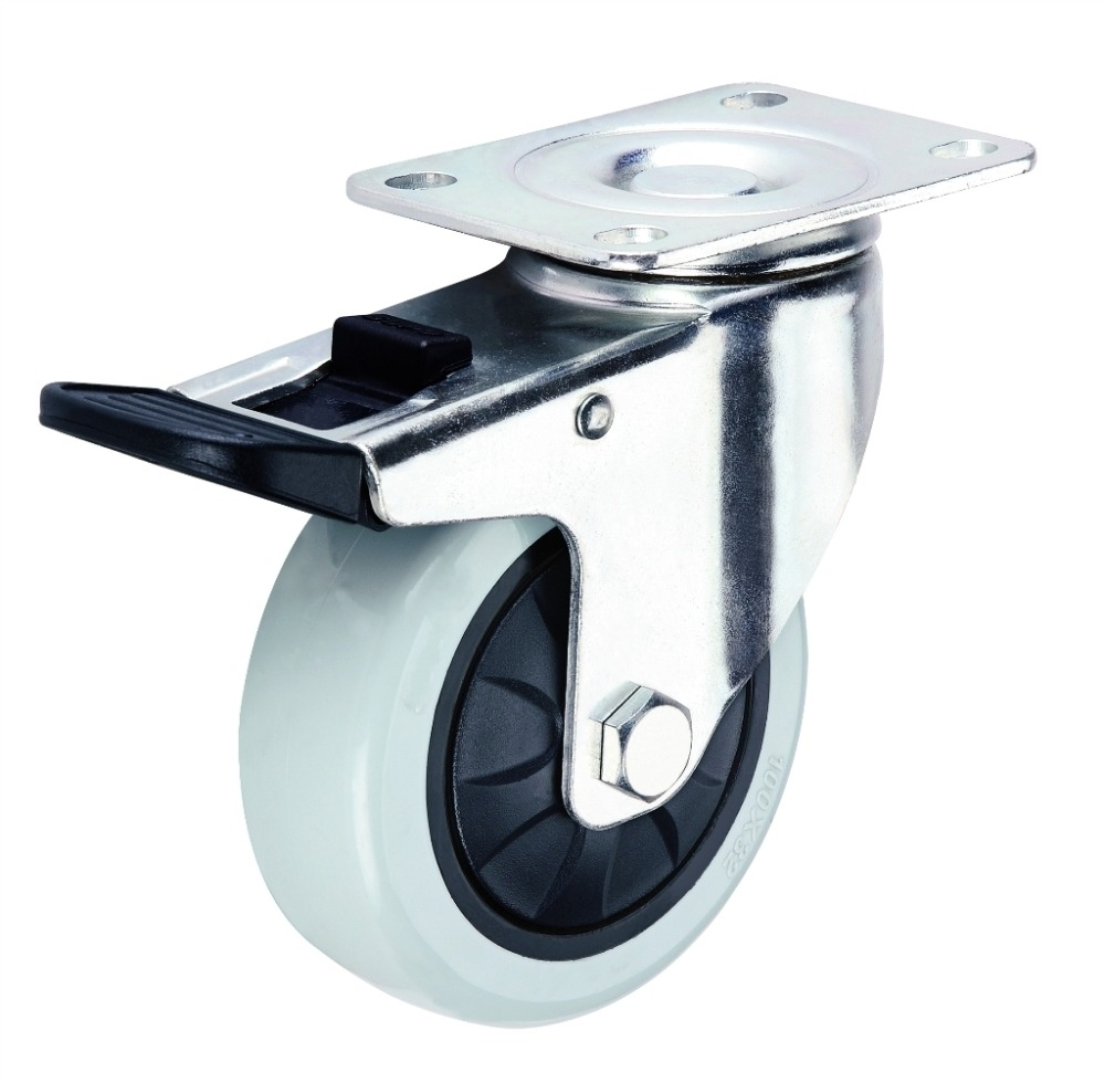 Fixed / swivel PU on Cast Iron heavy duty Caster wheel