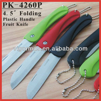 "(PK-4260P) 4.5"" Colourful Plastic Handle Folding Pocket Furit Knife"