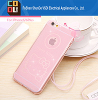 3D Hello Kitty Clear TPU Glitter Soft Back Cover with Sling Gel Mobile Phone Cases for Iphone6s for iphone 6plus