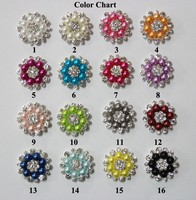 Wholesale 28mm Flatback Rhinestone Button With Pearl For Hair Flower Wedding Embellishment Pearl Button LSRB05018