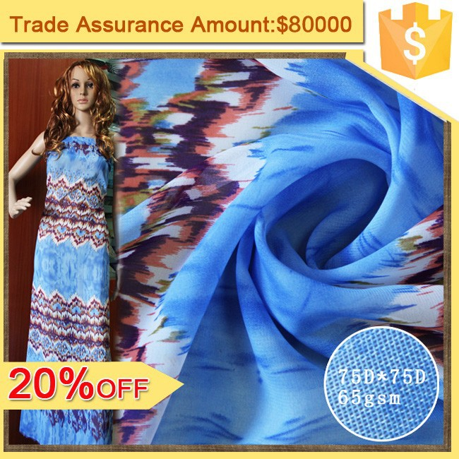 75D chiffon maxi dress fabric 100 Polyester fabric wholesale shaoxing textile print chiffon fabric