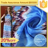 75D chiffon maxi dress fabric 100 Polyester fabric wholesale shaoxing textile print chiffon fabric
