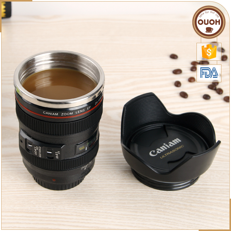 Christmas Promotional Gift 2016 Stainless Steel Camera Lens 24-105 Best Double Wall Coffee Mug