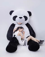 180cm beautiful customized black/white plush stuffed giant panda animal toy with a smiling face