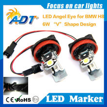 upgrade v-sharp H8 6w Error free led angel eyes led marker for BMW E90 E91 E60 E64 E63 E61 E87 E82