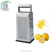 Multi-purpose box shaped stainless steel manual hand held food grater slicer