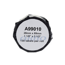 wholesale 28mm*89mm*130pcs compatible 99010 adhesive thermal paper roll for dymo