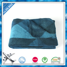 luxury polyester fleece zhenjiang factory printed low price airline throw
