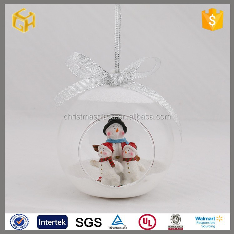 Clear open glass ball with three snowmen christmas decoration