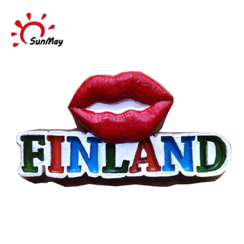 Wholesale Sweden Stockholm souvenir 3d pvc red lips for sale