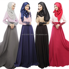 Hot Selling Muslim Women Long Dress Styles Of Dresses Black High Neckline Muslim Dress Colored Beaded Pattern Muslim Tube