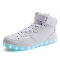 PU Lining Material White LED Light Up Basketball Shoes