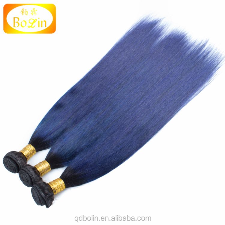 Straight Peruvian dark roots blue human hair 3 bundles remy hair blue ombre weave 2 tone ombre blue bundles Colorful Hair