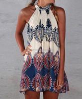 Women Fashion Boho Dress Summer Beachwear Tunics Gowns Printed Halter Sleeveless Mini Dresses Plus Size Women Clothing Vestidos